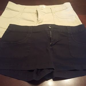 Khaki shorts and black shorts